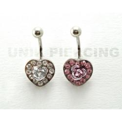 Piercing nombril coeur strass avec rose