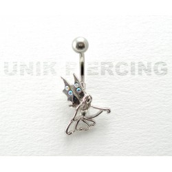 Piercing nombril fée strass irisé