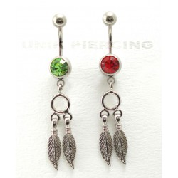 Piercing nombril indien plume