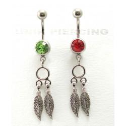 Piercing nombril indien plume