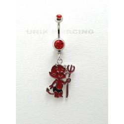 Piercing nombril diable rouge