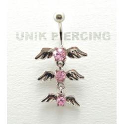Piercing nombril ailes d'ange triple cristal