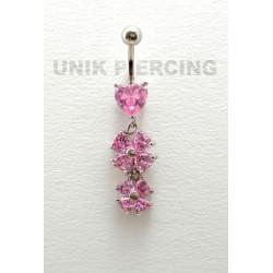 Piercing nombril coeur double fleur cristal rose