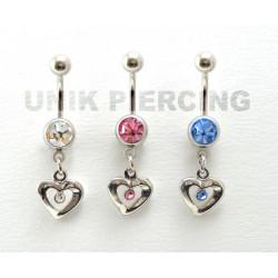 Piercing nombril coeur cristal centre