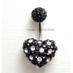 Piercing nombril swarovski coeur dégradé noir