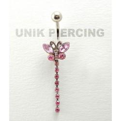 Piercing nombril papillon pendant cristal rose