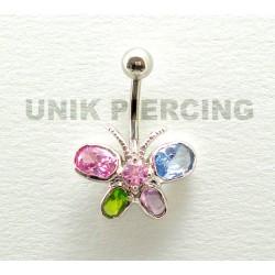 Piercing nombril papillon cristal multi color