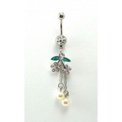 Piercing nombril double cerise pendant perle blanc