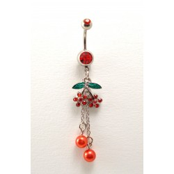 Piercing nombril double cerise pendant perle rouge
