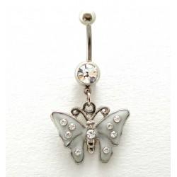 Piercing nombril papillon nacre cristal blanc
