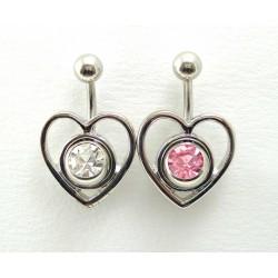 Piercing nombril coeur amovible