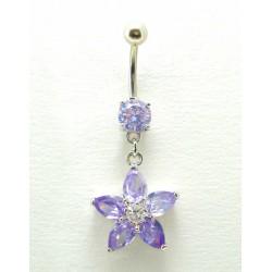 Piercing nombril pendant fleur cristal parme