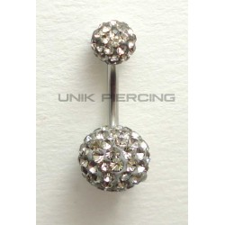 Piercing nombril swarovski gris
