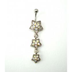 Piercing nombril pendant triple étoile cristal