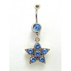 Piercing nombril pendant étoile 6 cristaux