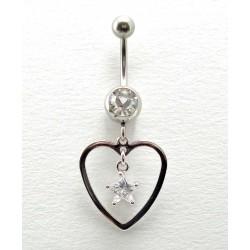 Piercing nombril pendant coeur étoile cristal