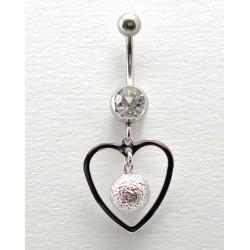 Piercing nombril pendant coeur boule acier