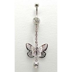 Piercing nombril pendant double papillon cristal 2