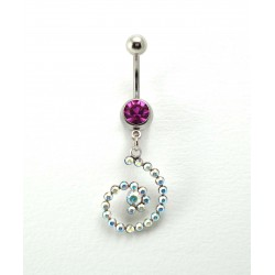 Piercing nombril spirale cristal