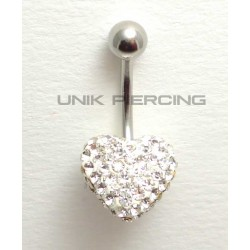 Piercing nombril swarovski coeur blanc