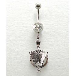Piercing nombril pendant anneau papillon cristal