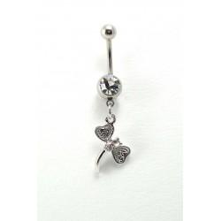 Piercing nombril Libellule acier cristal