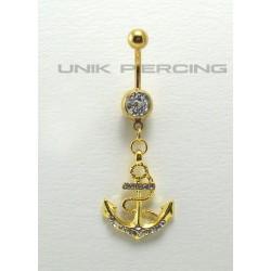 Piercing nombril Encre marine plaqué or cristal