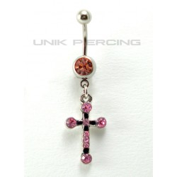 Piercing nombril Croix cristal rose ou blanc