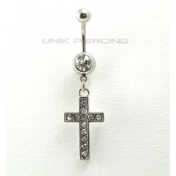 Piercing nombril croix cristal