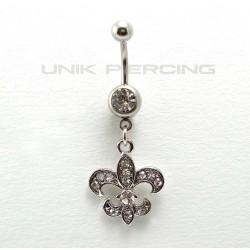 Piercing nombril fleur de lys cristal