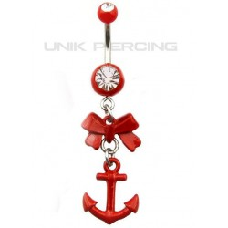 Piercing Nombril Encre marine noeud rouge