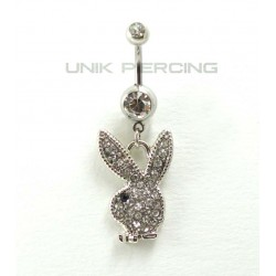 Piercing nombril playboy blanc