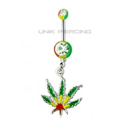 Piercing nombril cannabis rasta acrylique