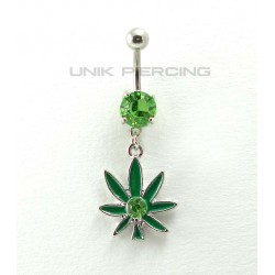 Piercing nombril rasta feuille cristal