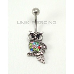 Piercing nombril hibou cristal