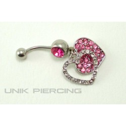 Piercing nombril double coeur cristal rose