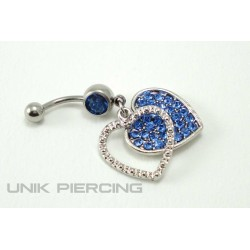 Piercing nombril double coeur cristal bleu
