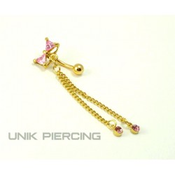Piercing nombril inversé noeud plaqué or rose