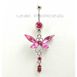 Piercing nombril pendant papillon cristal rose