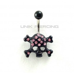 Piercing nombril crâne black cristal rose