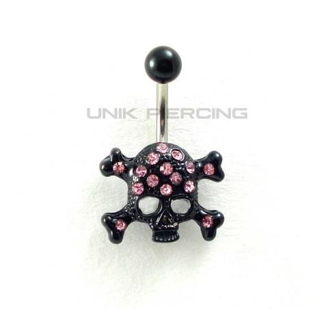 Piercing nombril crâne black cristal rose