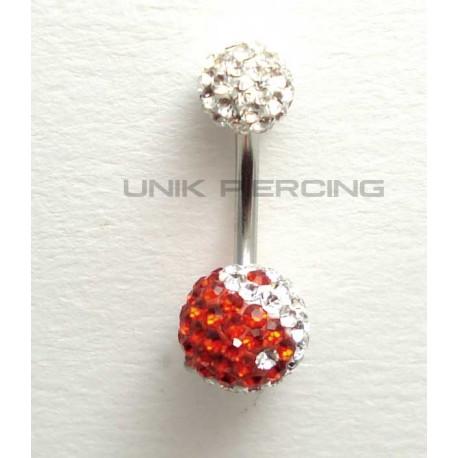 Piercing nombril swarovski ying yang rouge