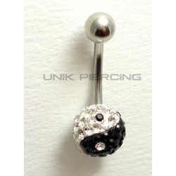 Piercing nombril swarovski ying yang simple noir