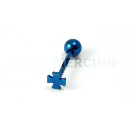 Piercing langue Croix bleue