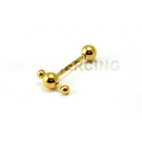 Piercing langue micro barbell esclave plaqué or