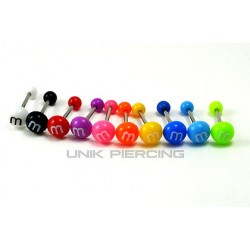 Piercing langue M&M'S