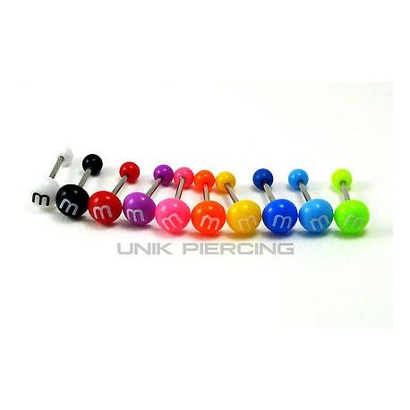 Piercing langue M&M'S