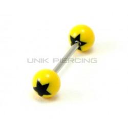 Piercing langue acrylique jaune étoile noire