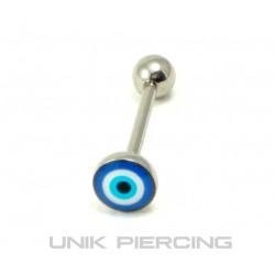 Piercing langue rond bleu
