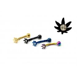 Piercing arcade/tragus cana noir cristal